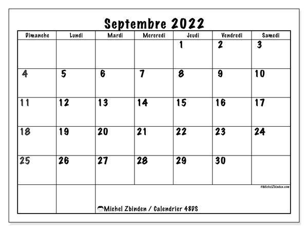 """Calendrier Septembre 2022 à Imprimer Gratuit Calendrier septembre 2022 à imprimer """"48DS""""   Michel Zbinden MC"""