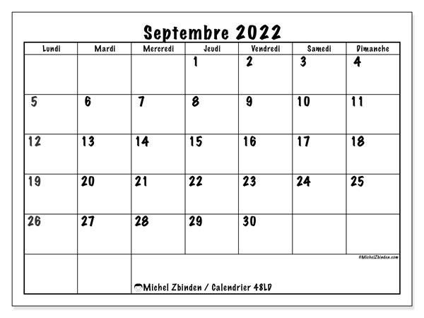 "Calendrier Sept 2022 Calendrier septembre 2022 à imprimer ""48LD""   Michel Zbinden CH"