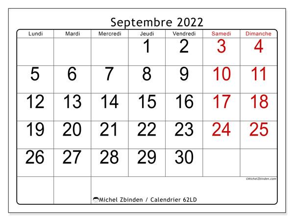 "Calendrier Sept 2022 Calendrier septembre 2022 à imprimer ""62LD""   Michel Zbinden CH"