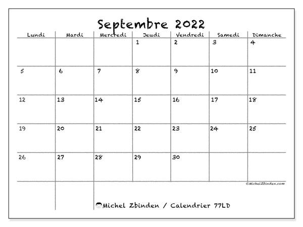 """Calendrier Septembre 2022 à Imprimer Gratuit Calendrier septembre 2022 à imprimer """"77LD""""   Michel Zbinden MC"""