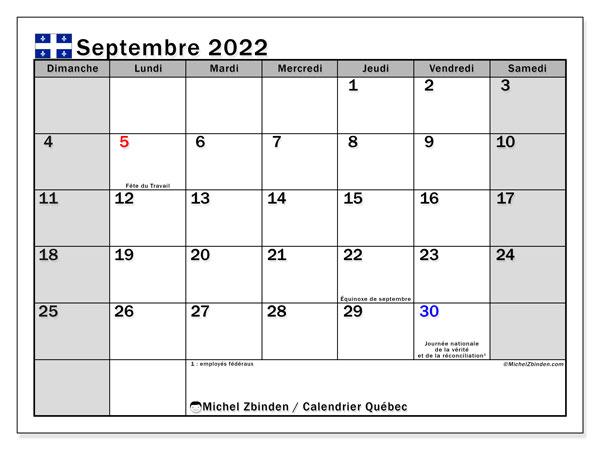 """Calendrier Mensuel Septembre 2022 Calendrier septembre 2022 à imprimer """"Québec""""   Michel Zbinden CA"""